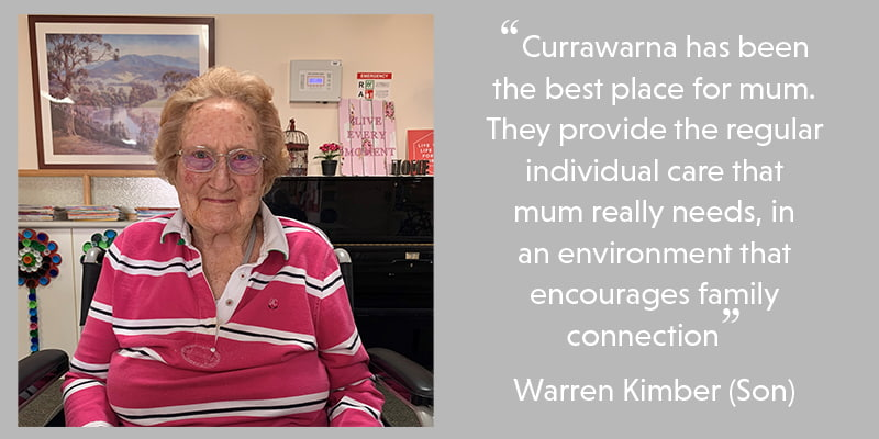 Gwen benefits from her aged care home